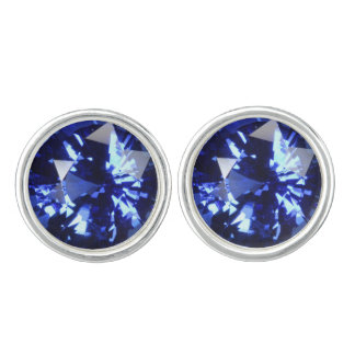 Sapphire Dark Blue Gemstone September Birthstone Cufflinks