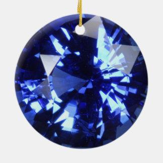Sapphire Dark Blue Gemstone September Birthstone Round Ceramic Decoration