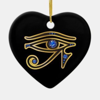 Sapphire Eye of Ra in Gold Ceramic Heart Decoration
