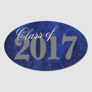Sapphire Graduate Announcement Blue Grad Party Oval Sticker