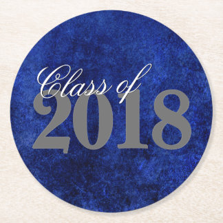 Sapphire Graduation | Blue Class of 2018 Party Round Paper Coaster