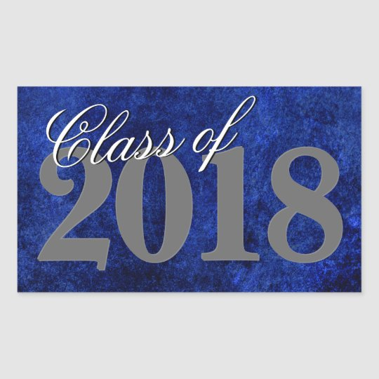 Sapphire Graduation | Royal Blue Class of 2018 Rectangular Sticker