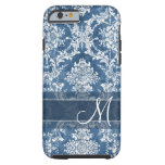 Sapphire Grunge Damask Pattern with Monogram Tough iPhone 6 Case