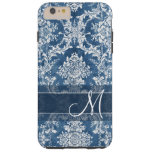 Sapphire Grunge Damask Pattern with Monogram Tough iPhone 6 Plus Case