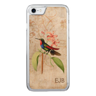 Sapphire Hummingbird Monogram Carved iPhone 8/7 Case