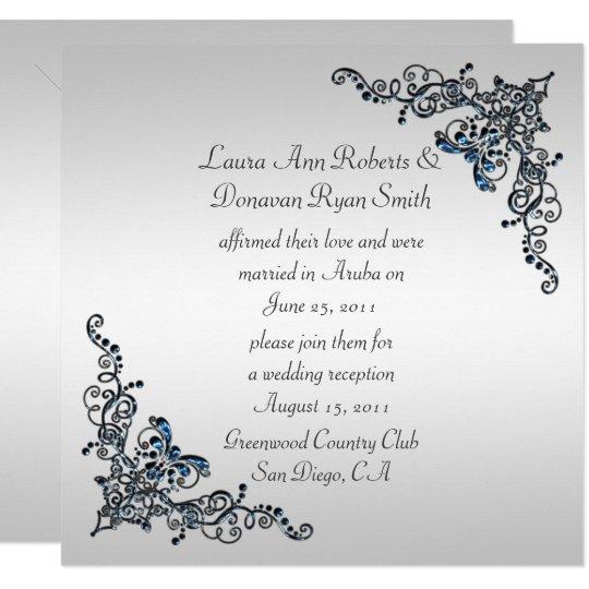 Sapphire Jewelled Swirls Post Wedding Celebration Card