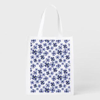 Sapphire Lucky Shamrock Clover Reusable Grocery Bag