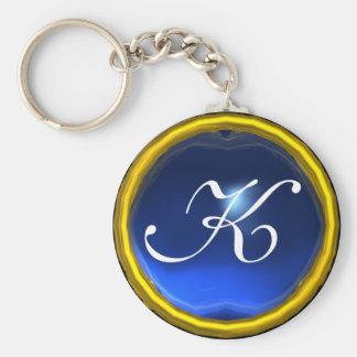 SAPPHIRE  MONOGRAM ,blue yellow Basic Round Button Key Ring