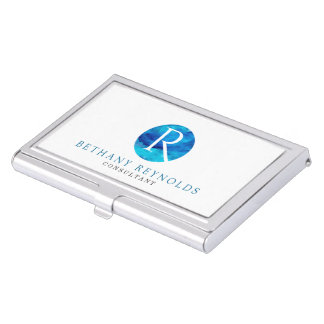 Sapphire Sky Window Monogram Business Card Holder