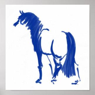 Sapphire Sumi-e Stallion Poster