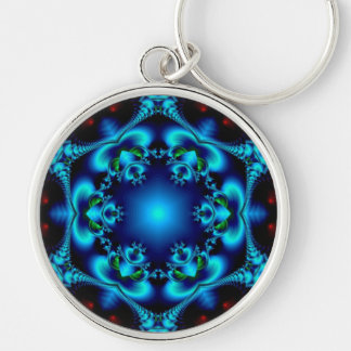 Sapphire Sun Silver-Colored Round Key Ring