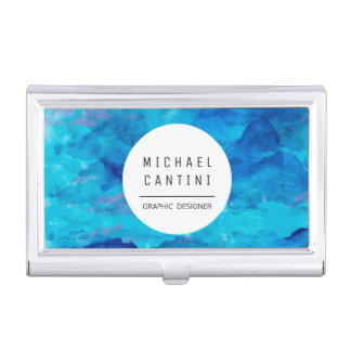 Sapphire Watercolor Business Card Holder