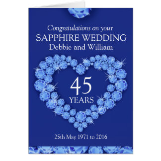 Sapphire wedding anniversary name details card