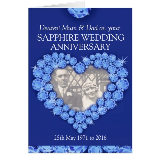 Wedding Anniversary Gifts For Parents Uk : Sapphire wedding anniversary parents photo card Zazzle