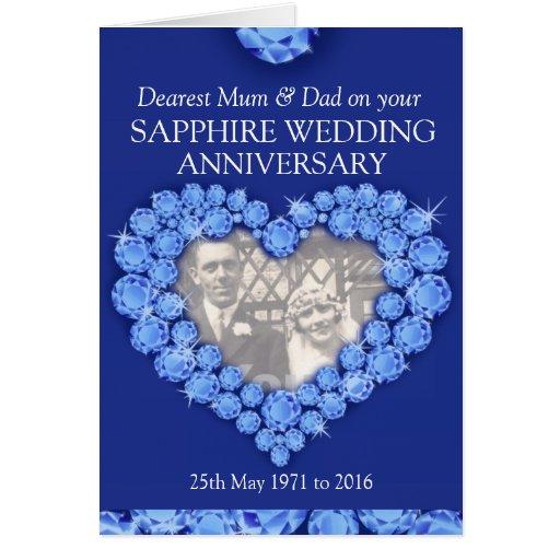 sapphire_wedding_anniversary_parents_photo_card ...