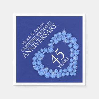 Sapphire Wedding blue heart name napkins Disposable Serviettes