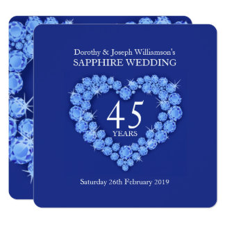 Sapphire wedding heart 45 years party invite