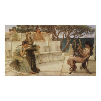 Sappho and Alcaeus by Alma Tadema, Vintage Art Print