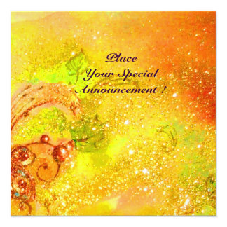 SAPPHO ,DANCE ,MUSIC AND POETRY, Gold Sparkles 13 Cm X 13 Cm Square Invitation Card