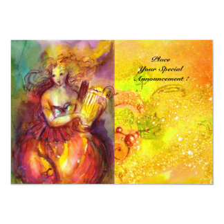 SAPPHO ,DANCE ,MUSIC AND POETRY, Gold Sparkles 13 Cm X 18 Cm Invitation Card