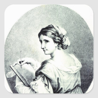 Sappho, engraved by Pye, 1774 Square Sticker