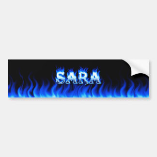 Sara blue fire and flames bumper sticker design.