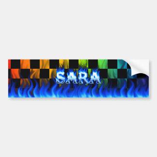 Sara blue fire and flames bumper sticker design. car bumper sticker
