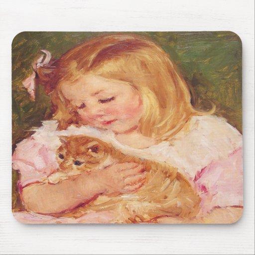 Sara Holding a Cat, Mary Cassatt Mousepad