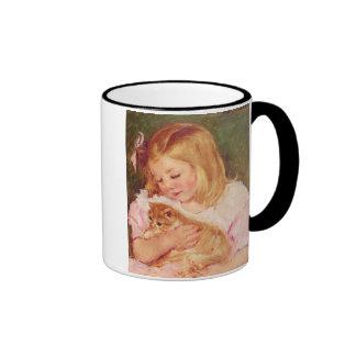 Sara Holding a Cat, Mary Cassatt Ringer Coffee Mug