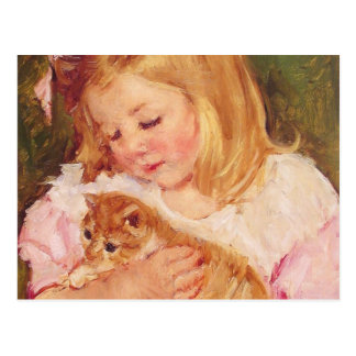 Sara Holding a Cat, Mary Cassatt Postcard