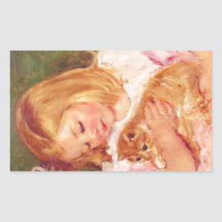 Sara Holding Her Kitten by Marie Cassatt Rectangular Sticker