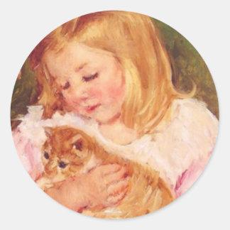 Sara Holding Her Kitten by Marie Cassatt Round Sticker