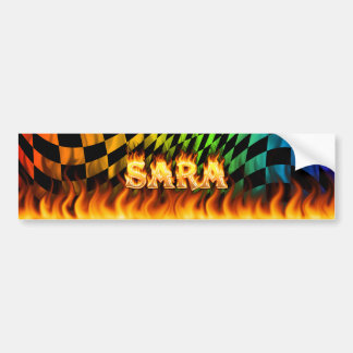 Sara real fire and flames bumper sticker design