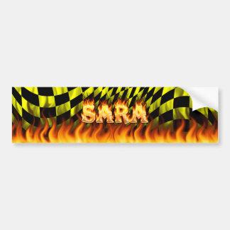 Sara real fire and flames bumper sticker design car bumper sticker