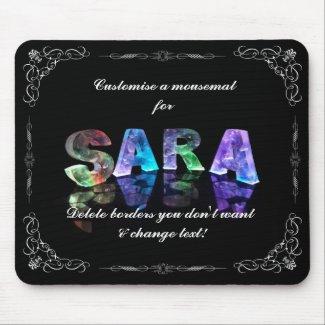Sara - The Name Sara in 3D Lights (Photograph) Mouse Mats