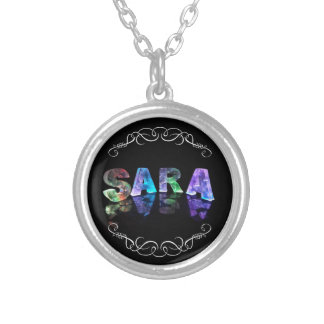 Sara  - The Name Sara in 3D Lights (Photograph) Silver Plated Necklace