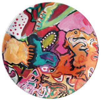 Saragui Colorful Abstract Porcelain Plate