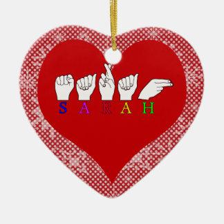 SARAH ASL NAME FINGERSPELLED SIGN CHRISTMAS ORNAMENT