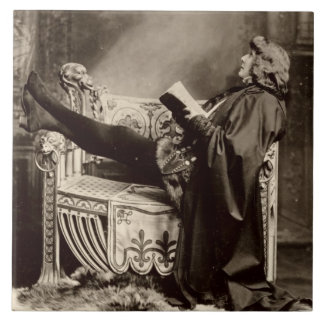 Sarah Bernhardt (1844-1923) as Hamlet in the 1899 Large Square Tile