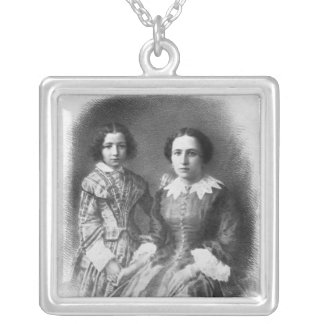 Sarah Bernhardt and her mother? Silver Plated Necklace