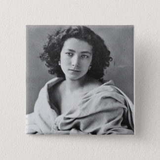 Sarah Bernhardt  in costume, c.1860 15 Cm Square Badge