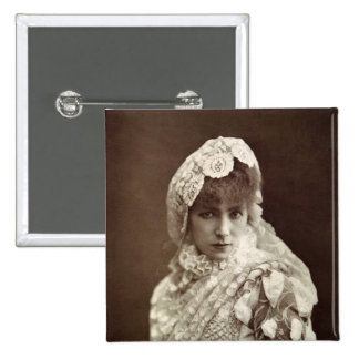 Sarah Bernhardt  in the role of Marion Delorme 15 Cm Square Badge