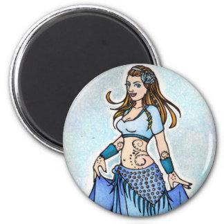 Sarah Blue Bellydancer 6 Cm Round Magnet