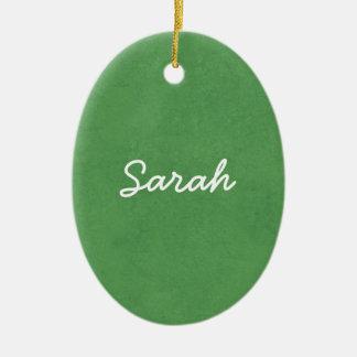 SARAH Grass Green Custom Name Gift Collection Christmas Ornament