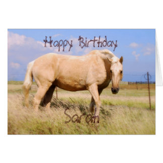 Sarah Happy Birthday Palomino Horse Card