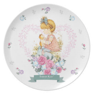 Sarah Kay Fleur Porcelain Plate #1 Teal