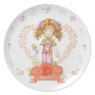 Sarah Kay Fleur Porcelain Plate #2 Apricot