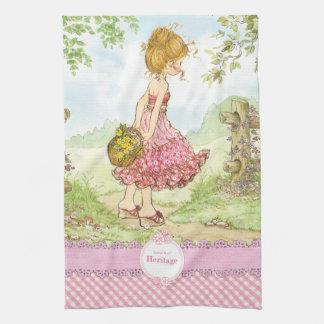 """Sarah Kay Heritage """"Walking"""" Kitchen Towel Pink"""