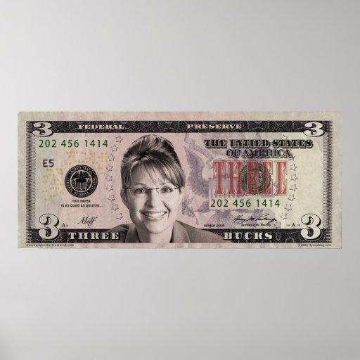 Sarah Palin $3 Bill Poster