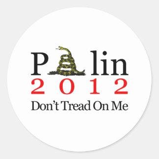 Sarah Palin Don't Tread On Me Round Stickers